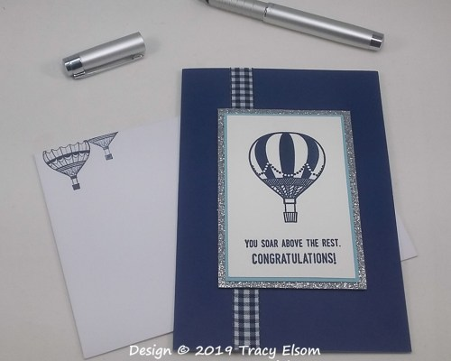 1739 Navy and White Congratulations Card