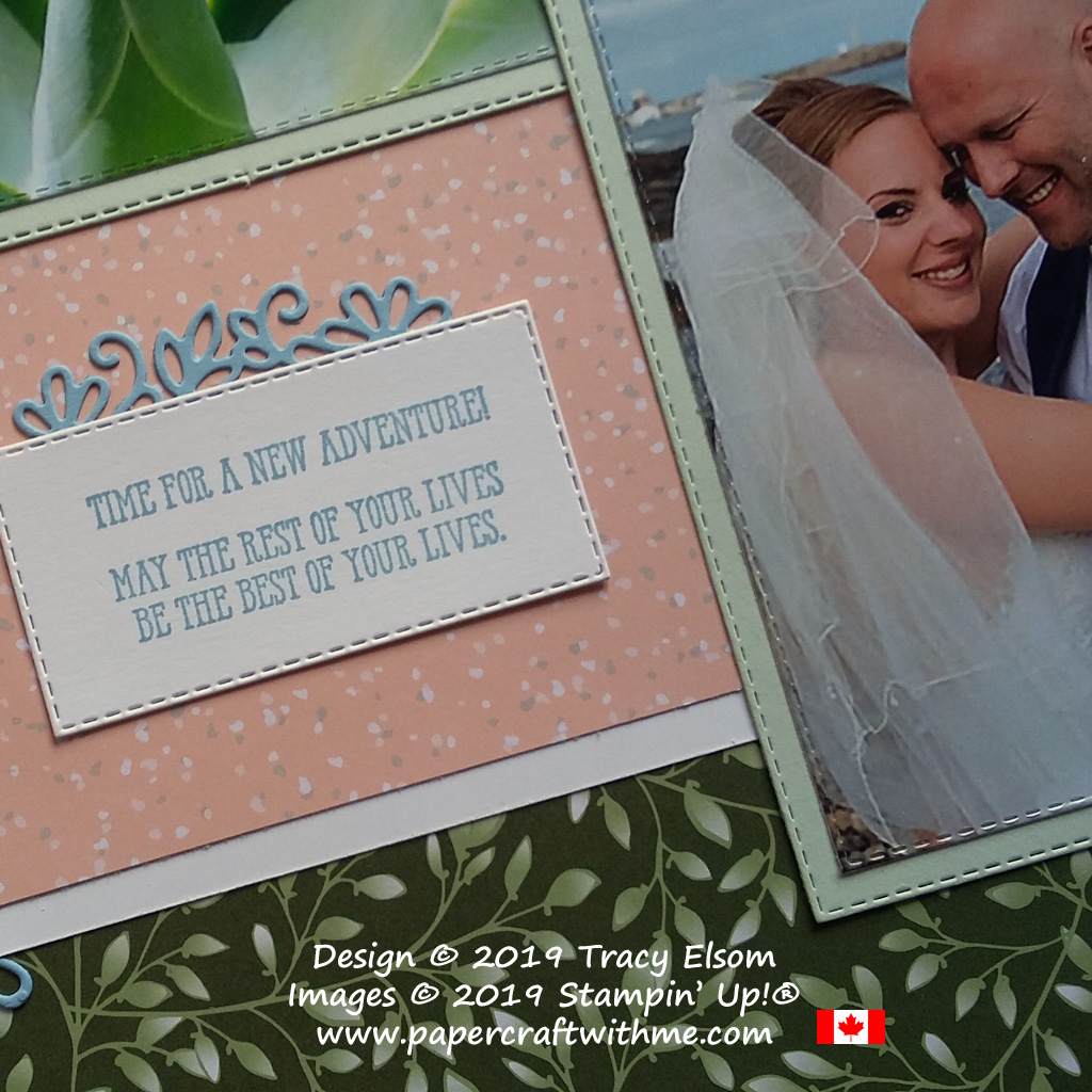 Bride & groom new adventure scrapbook page with sentiments from the Well Said Stamp Set from Stampin' Up!
