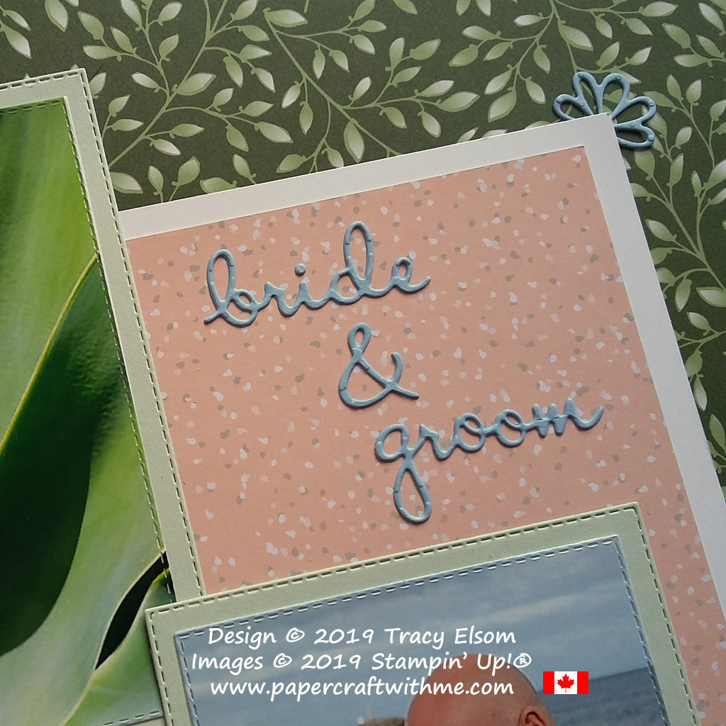 Bride & groom scrapbook page title created using the Well Written Framelits Dies from Stampin' Up!
