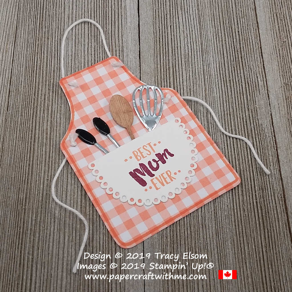 Gingham apron gift tag for the Best Mum Ever with removable wooden spoon and other utensils. Created using the Apron of Love Stamp Set and coordinating Apron Builder Framelits from Stampin' Up!
