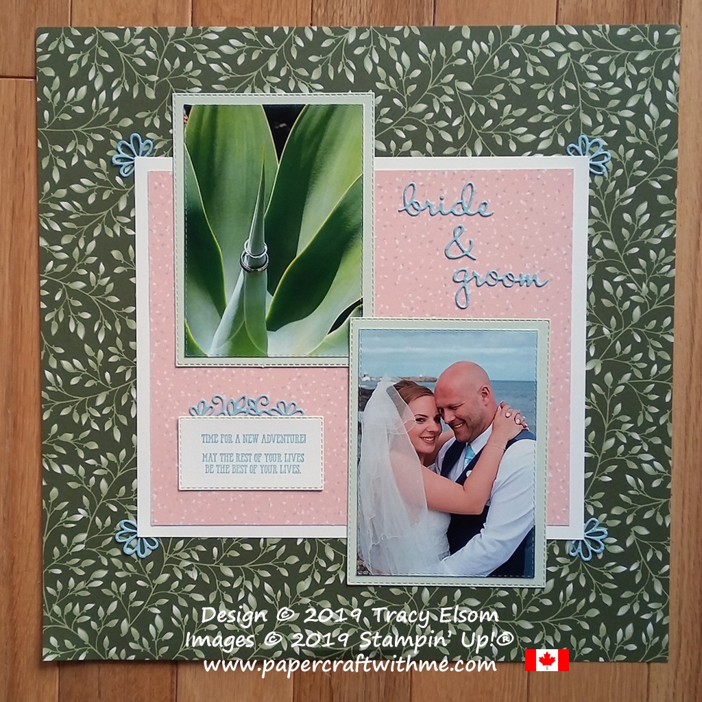 Bride & groom new adventure scrapbook page created using the Well Said Stamp Set and coordinating Well Written Framelits Dies from Stampin' Up!