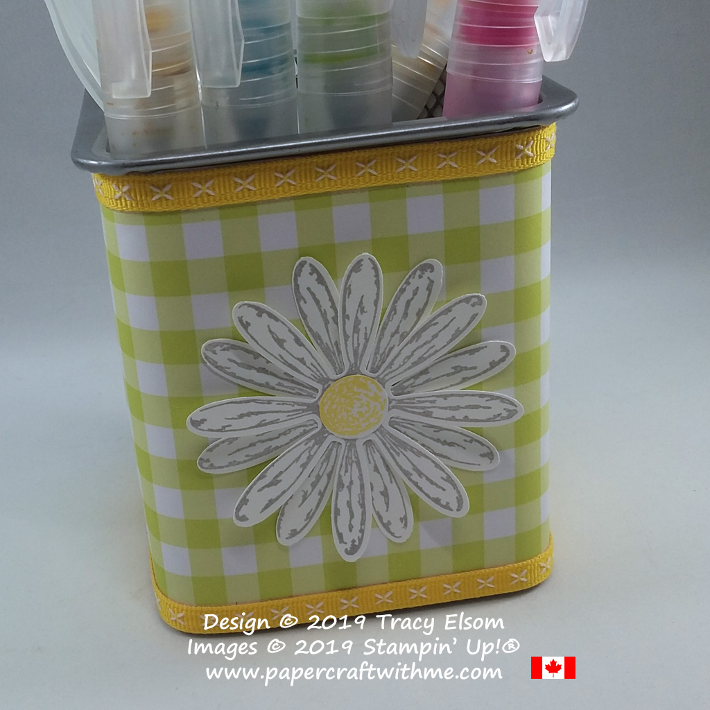 Close up of square daisy pot decorated using the Daisy Delight Stamp Set from Stampin' Up!