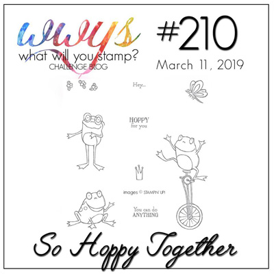 Logo for the What Will You Stamp? design challenge #wwys210 - So Hoppy Together (March 11 to 16, 2019)