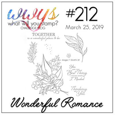 Logo for What Will You Stamp? challenge #WWYS212 Wonderful Romance (March 25-30, 2019)
