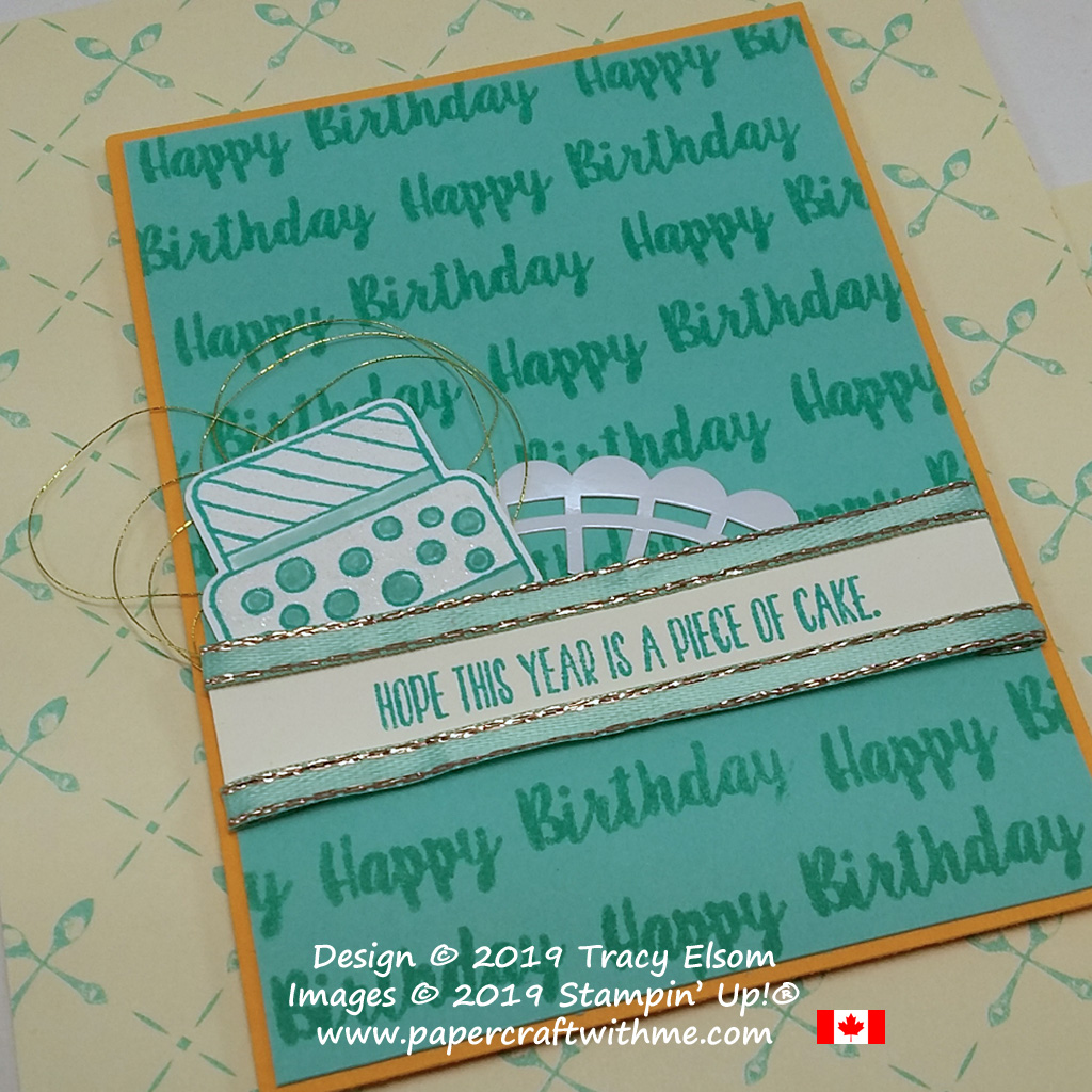 Close up of birthday card created using the Piece of Cake Stamp Set from Stampin' Up!