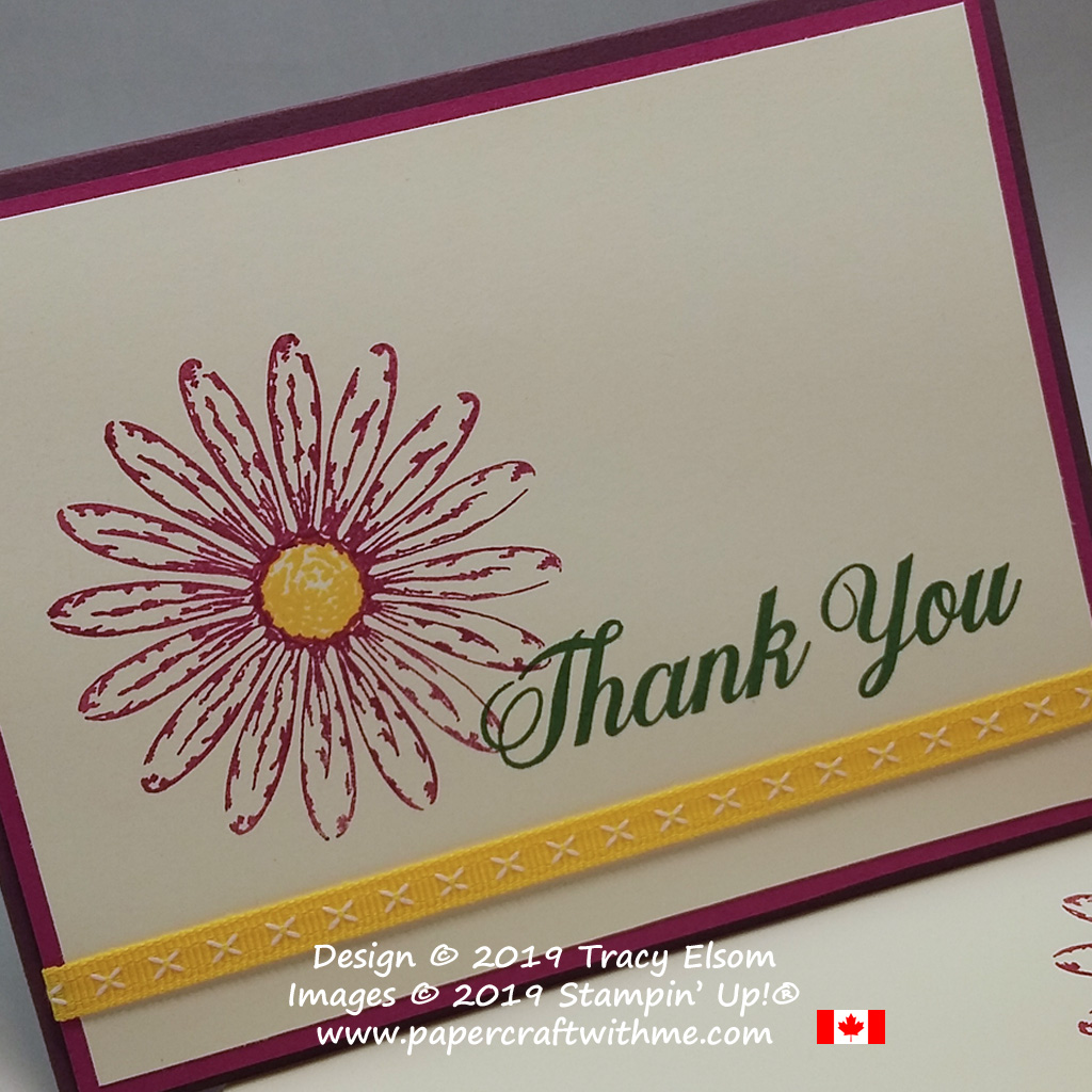 Close up of colourful spring thank you card created using the Daisy Delight Stamp set from Stampin' Up!