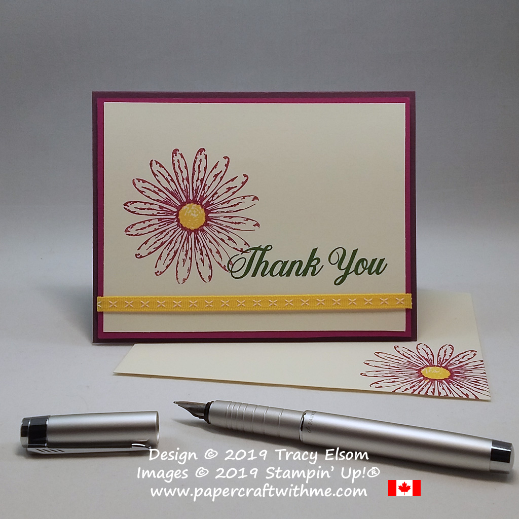 Colourful spring thank you card with gerbera daisy created using the Daisy Delight Stamp set from Stampin' Up!
