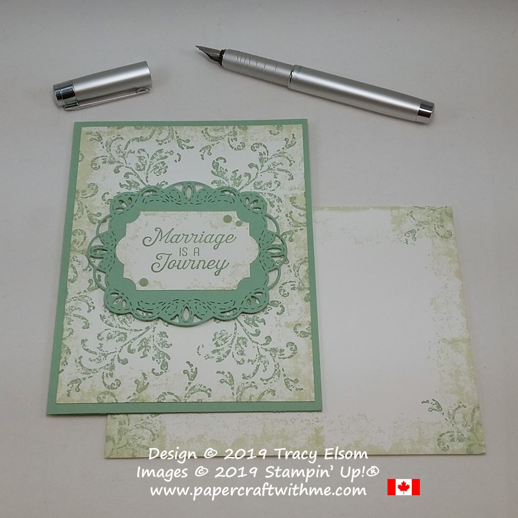 Vintage-style wedding card with 'Marriage is a journey' sentiment created using the Flourishing Phrases and Timeless Textures Stamp Sets from Stampin' Up!