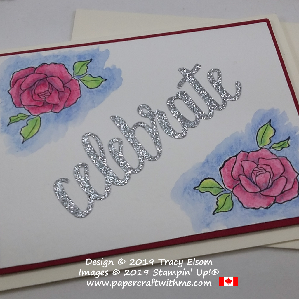 Close up of celebration card with watercoloured roses from the Tea Together Stamp set and die-cut sentiment from the Celebrate You Thinlits from Stampin' Up!