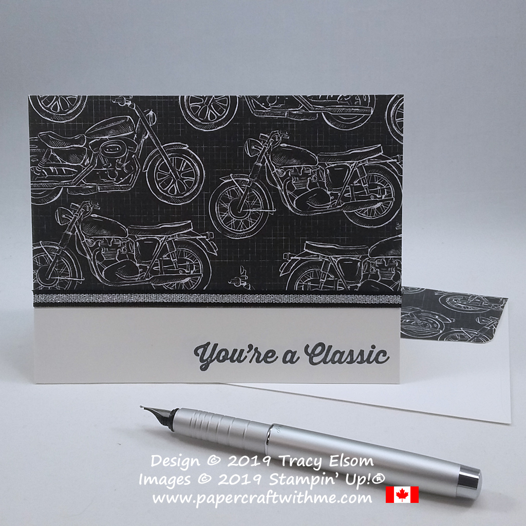 Motorcycle themed card with 'You're a Classic' sentiment from the Geared Up Garage Stamp Set from Stampin' Up!