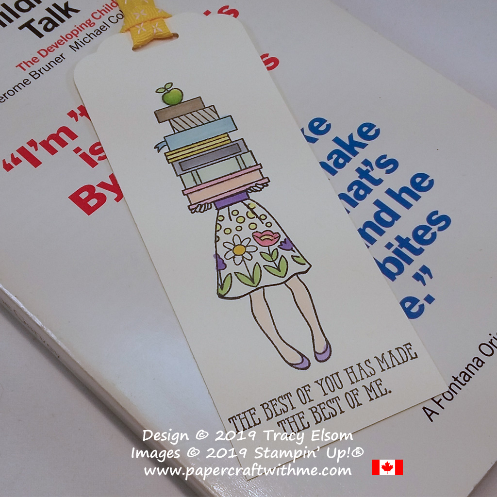 Close up of teacher appreciation bookmark created using the Hand Delivered and Well Said Stamp Sets from Stampin' Up! coloured with Stampin' Blends.