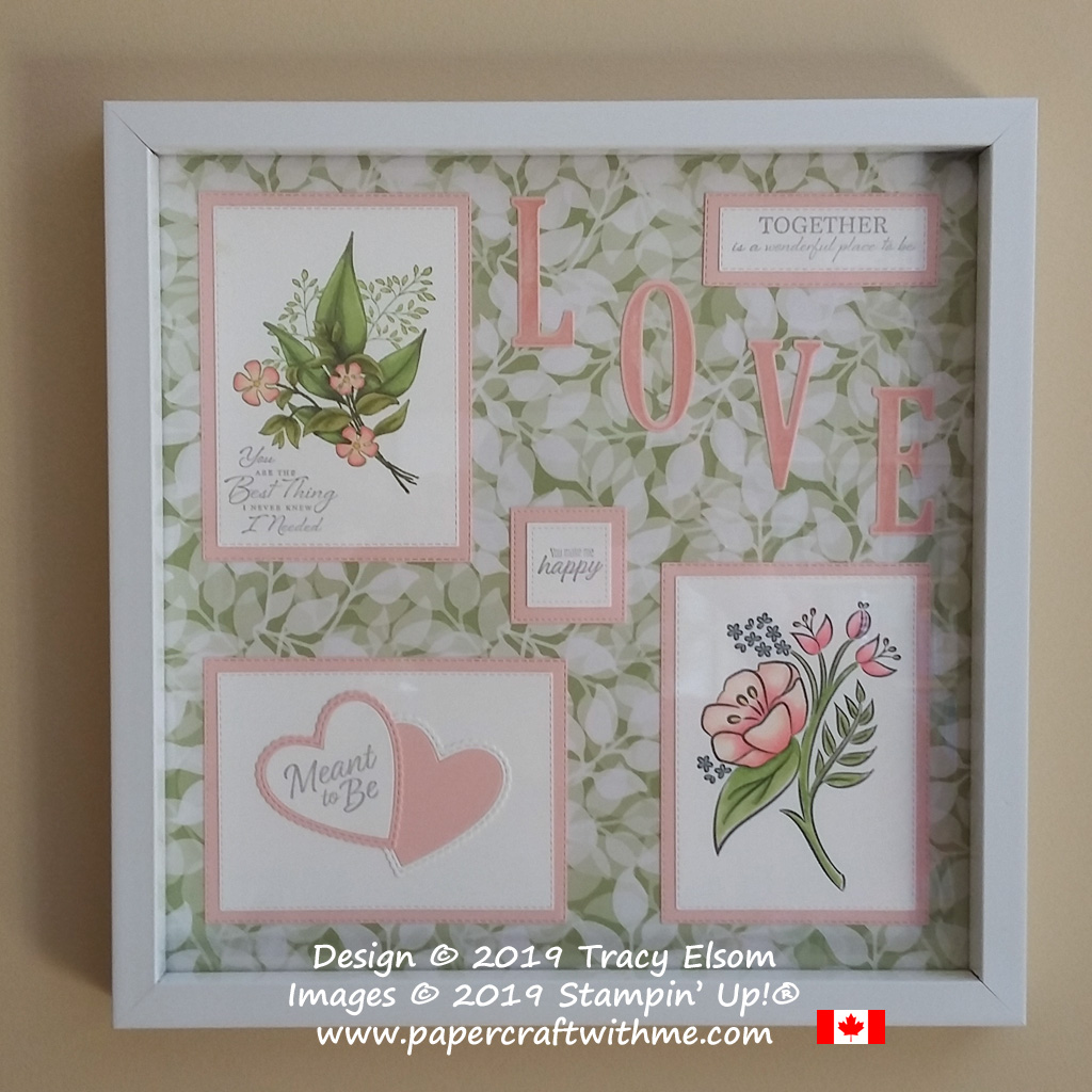 Sampler with floral images and romantic sentiments created using stamps and dies from Stampin' Up!