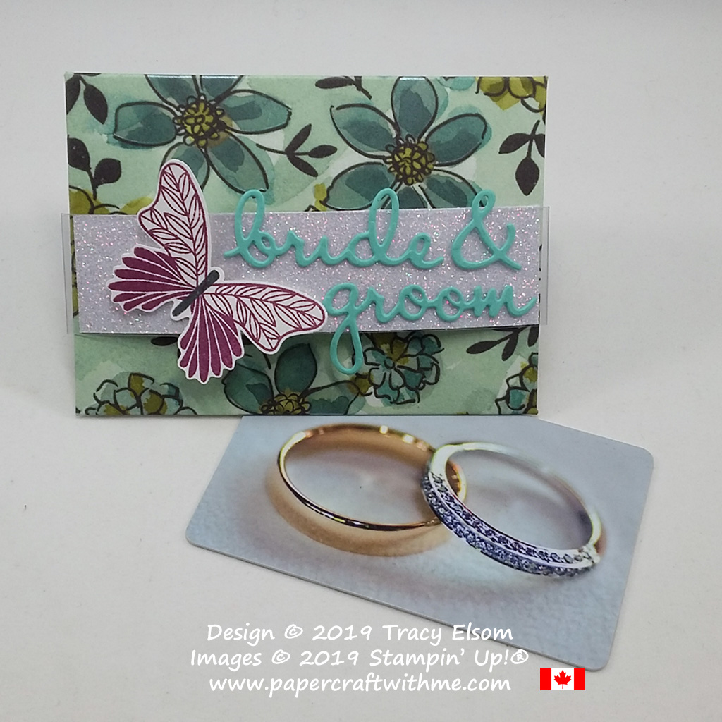 Bride & Groom gift card envelope created using the Well Written Dies and butterfly from the Butterfly Gala Stamp Set from Stampin' Up!