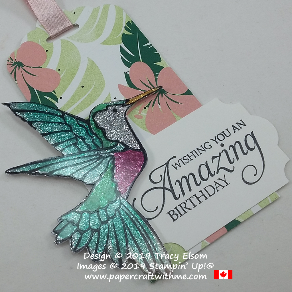 Close up of large gift tag with amazing birthday sentiment and hummingbird from the Humming Along Stamp Set by Stampin' Up!