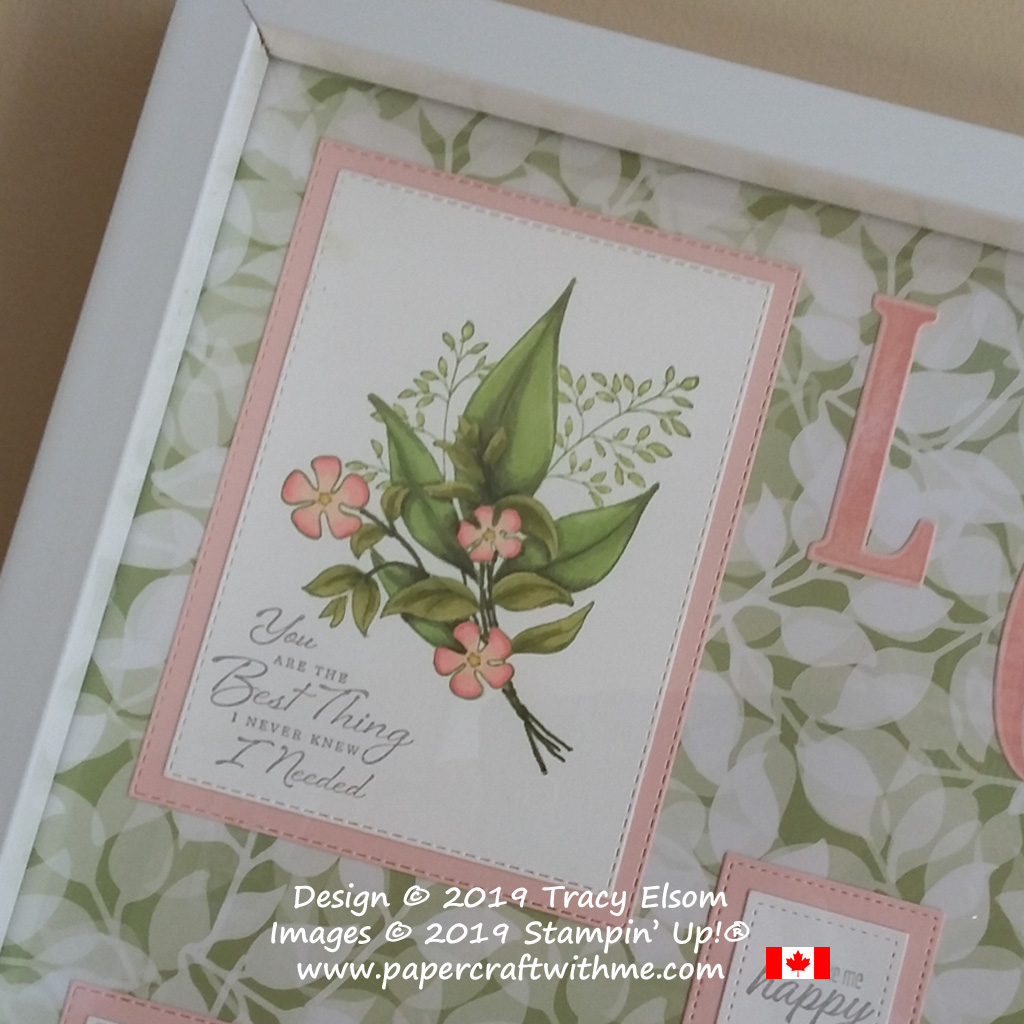Top left corner of sampler frame with floral spray coloured using Stampin' Blends and 'You are the best thing I never knew I needed' sentiment from the Wonderful Romance Stamp Set from Stampin' Up!