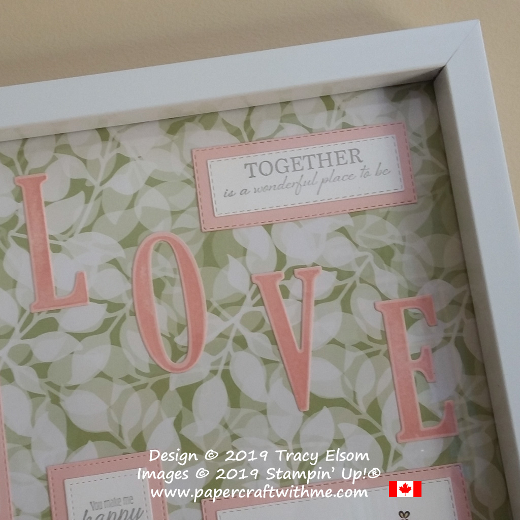 Top right corner of sampler frame with 'Together is a wonderful place to be' sentiment from the Wonderful Romance Stamp Set, and Large Letters created using the Letters for You Stamp Set and Large Letters Dies. All from Stampin' Up!