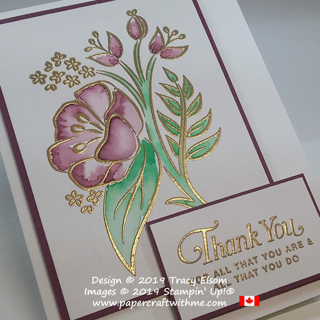 Close up of thank you card created using the All That You Are Stamp Set from Stampin' Up!, showing gold embossing and ink painted floral image.