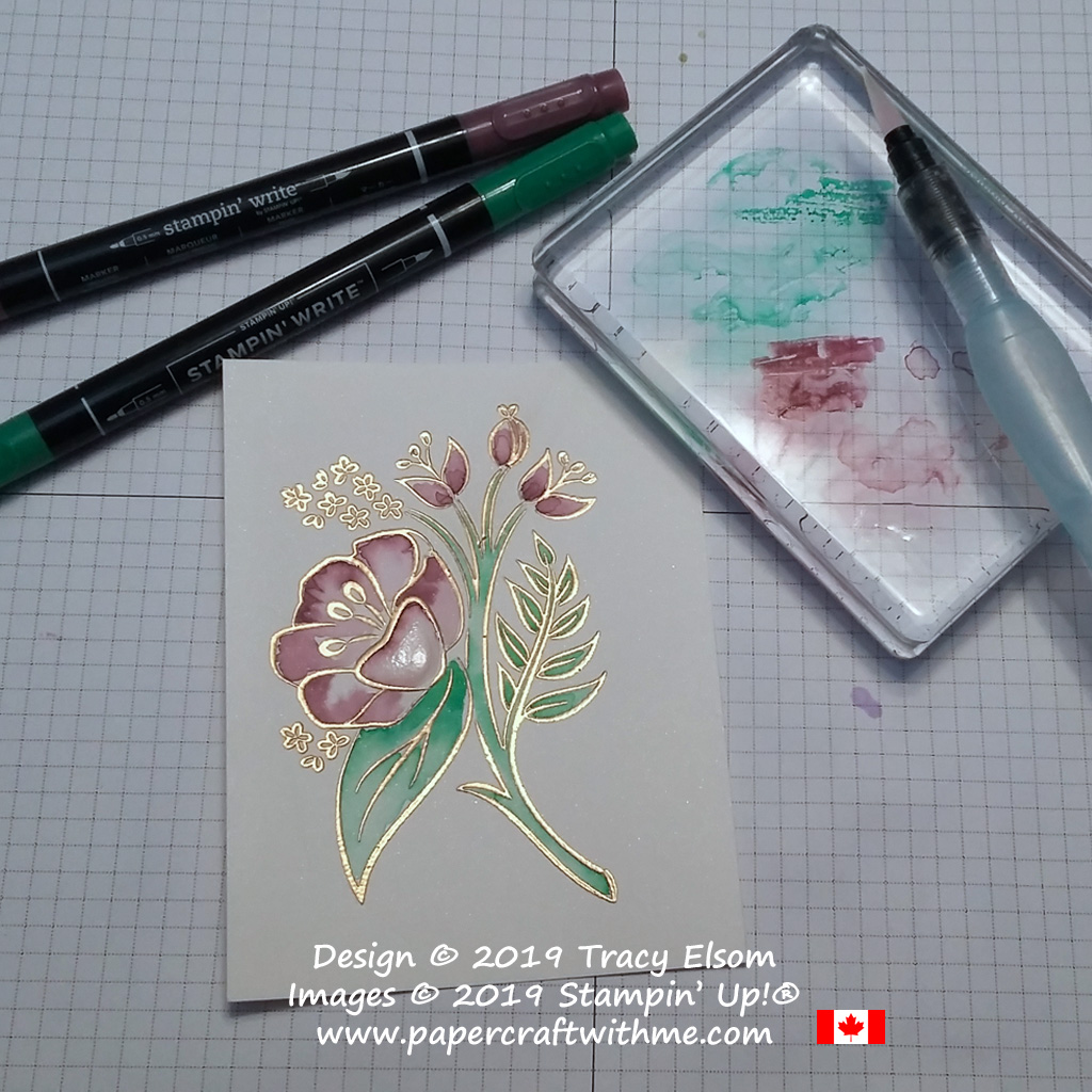 Using Stampin' Write Markers and an Aqua Painter to 'paint' the large floral image from the All That You Are Stamp Set from Stampin' Up!