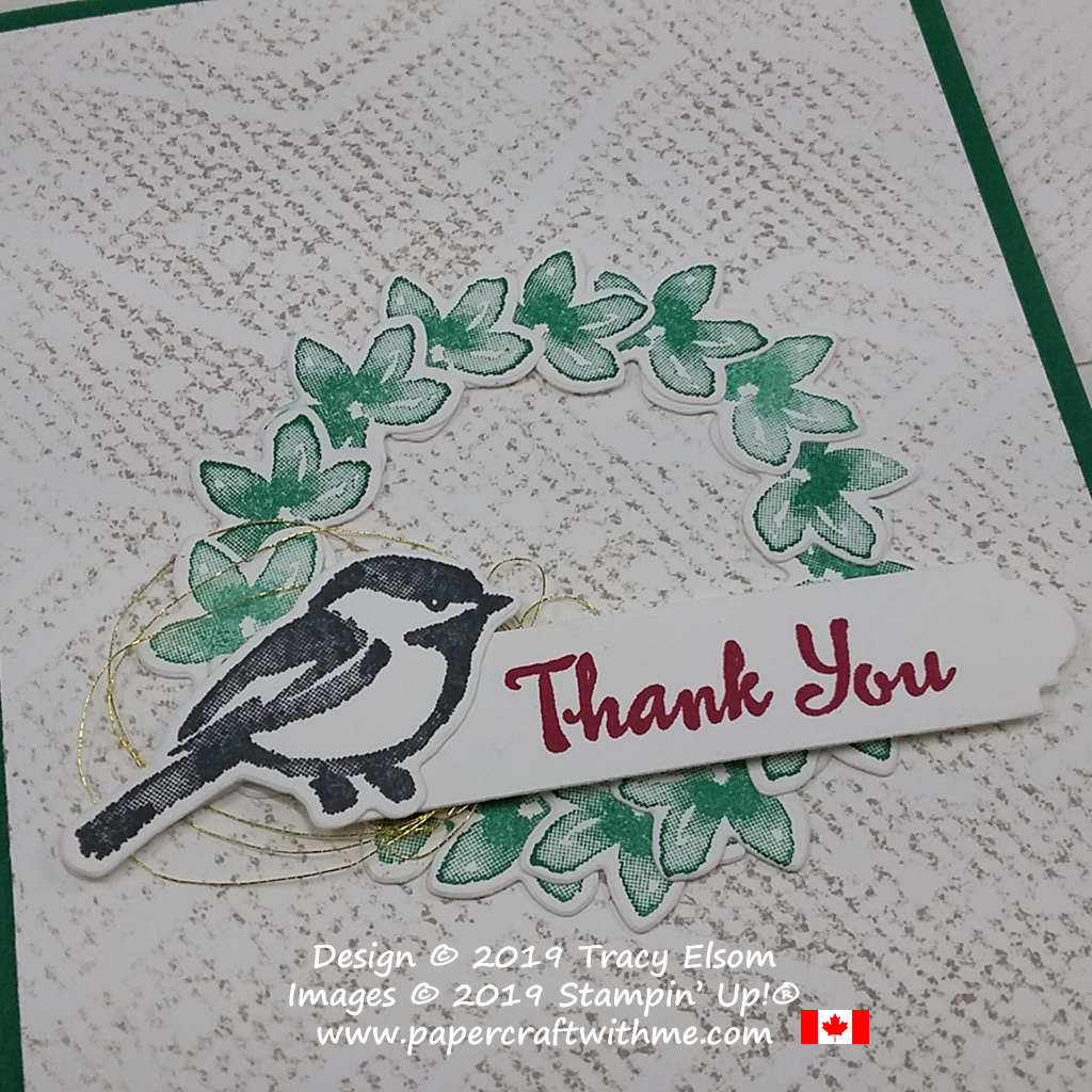 Close up of thank you card with a chickadee and wreath created using the Petal Palette Stamp Set and coordinating Petals & More Thinlits Dies from Stampin' Up!