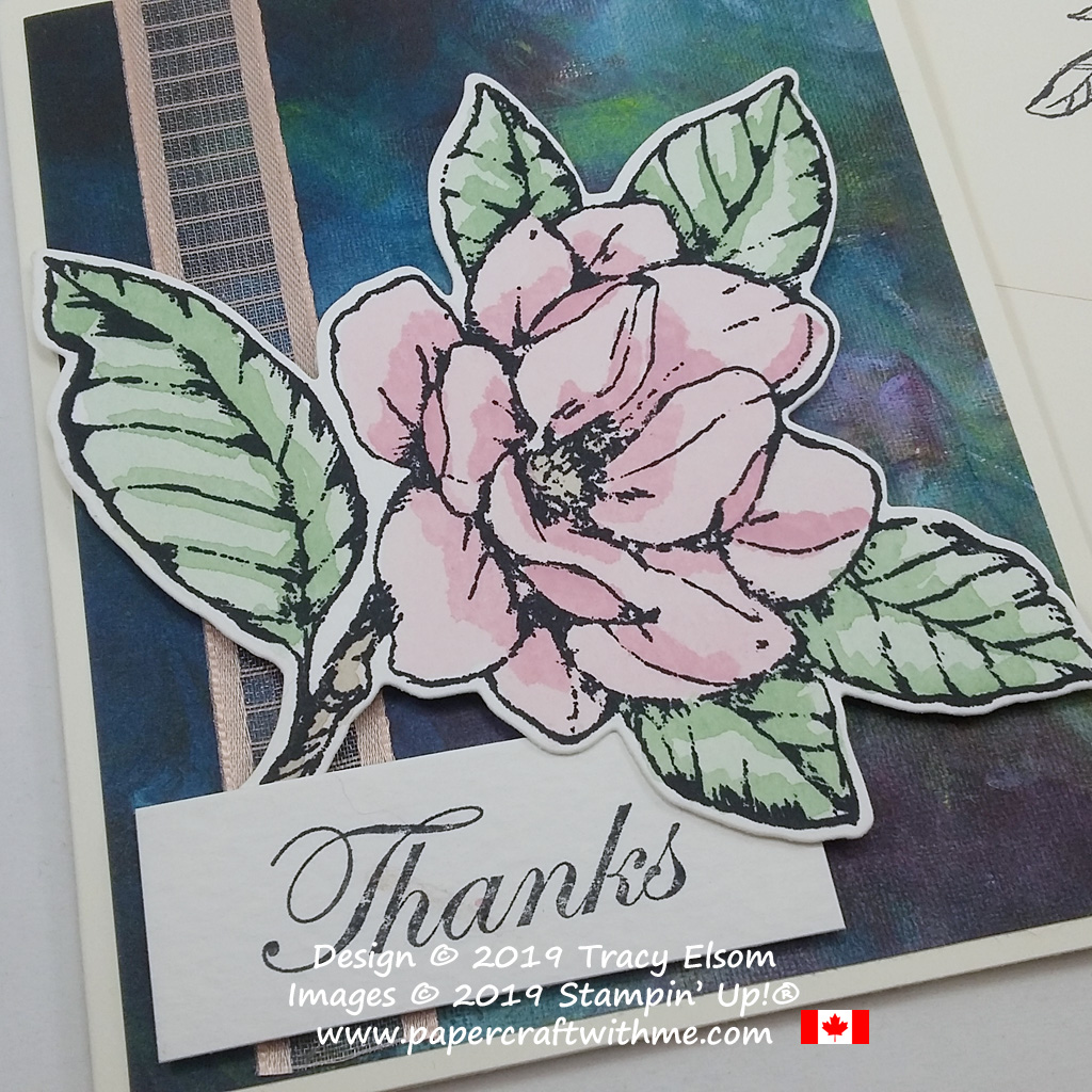 Close up of watercoloured magnolia thank you card created using the Good Morning Magnolia Stamp Set and coordinating Magnolia Memory Dies from Stampin' Up!