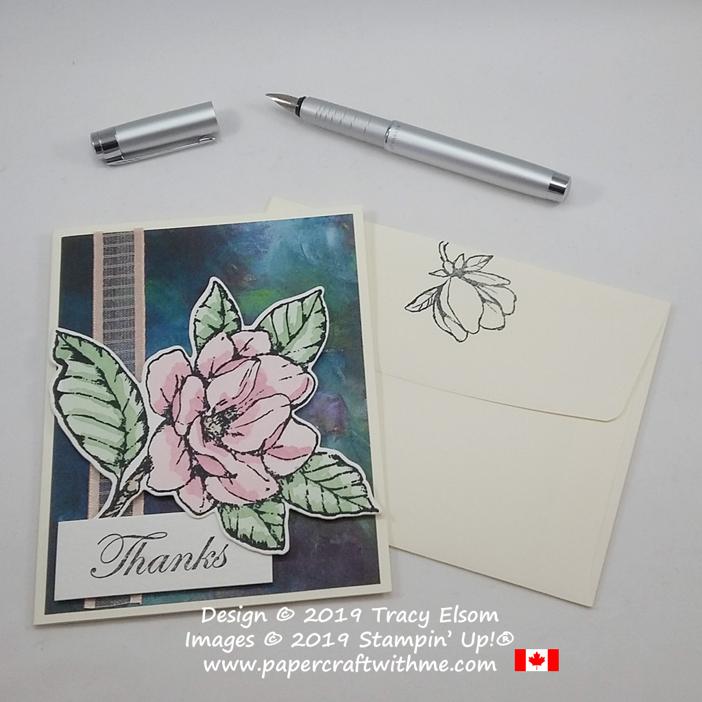 Watercoloured magnolia thank you card created using the Good Morning Magnolia Stamp Set and coordinating Magnolia Memory Dies from Stampin' Up!