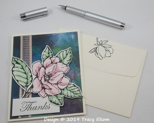 1767 Watercoloured Magnolia Thanks Card