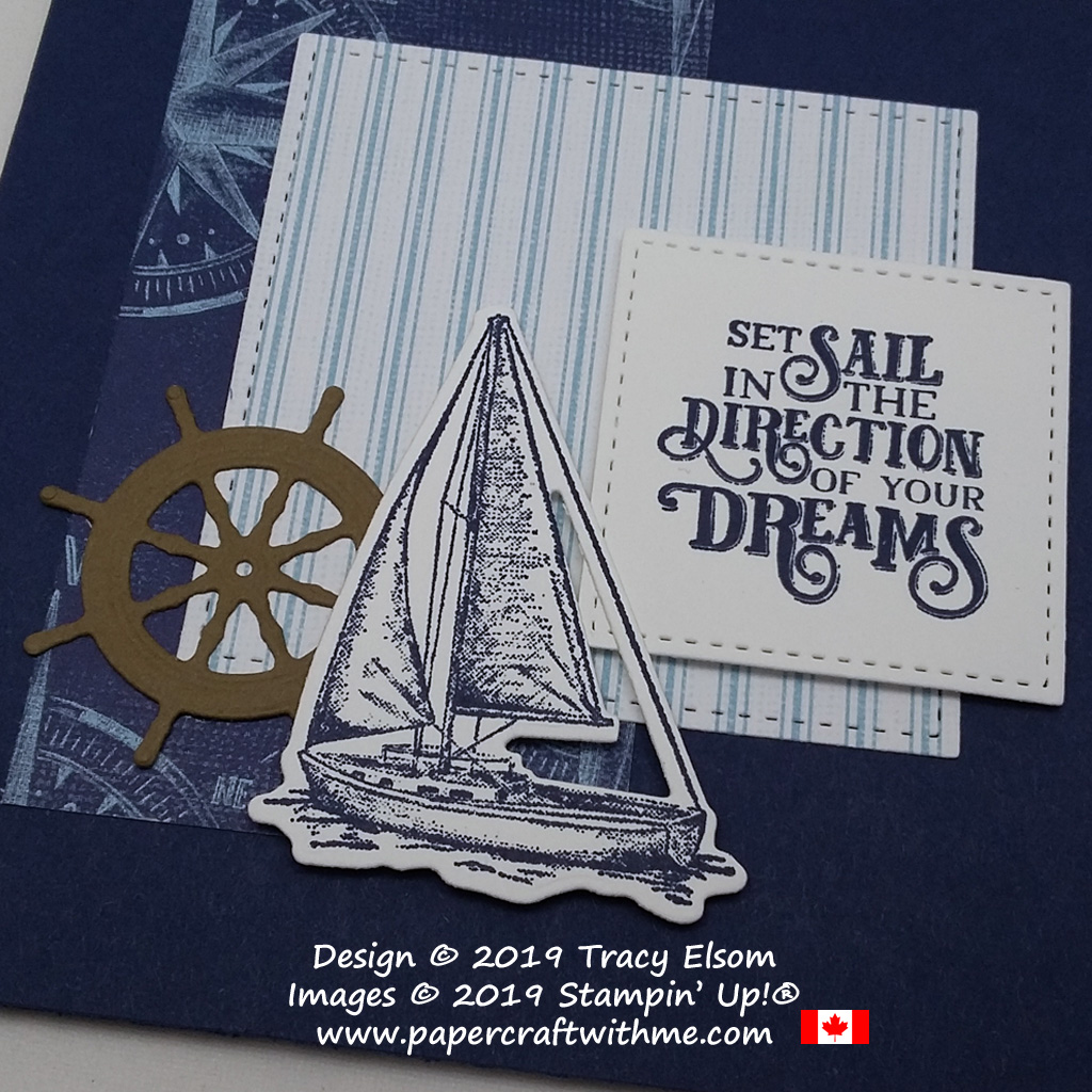Close up of masculine card with yacht and ship's wheel created using the Sailing Home Stamp Set and coordinating Smooth Sailing Dies from Stampin' Up!