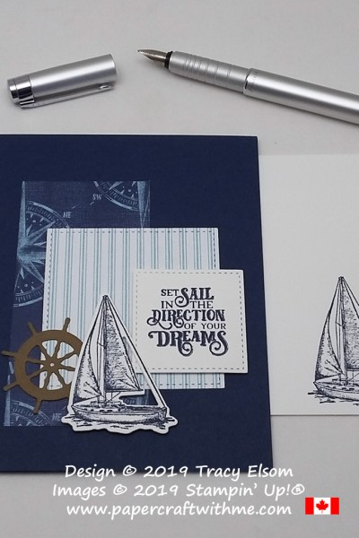Masculine card with 'set sail' sentiment, yacht and ship's wheel created using the Sailing Home Stamp Set and coordinating Smooth Sailing Dies from Stampin' Up!