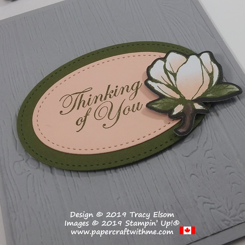 Close up of Thinking of You card created using the Good Morning Magnolia Stamp Set, Magnolia Memory Dies and Magnolia Lane DSP from Stampin' Up!