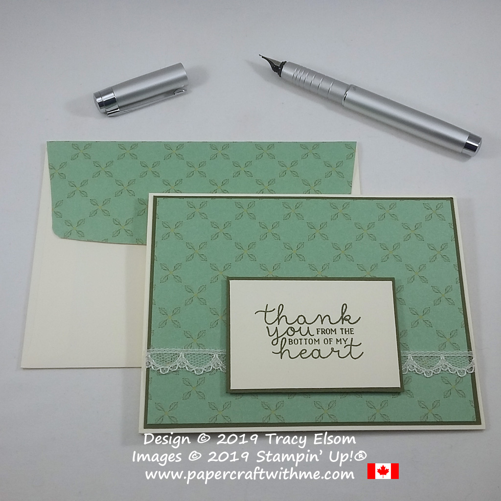 Simple thank you card made using the Bloom & Grow Stamp Set and Garden Lane DSP from Stampin' Up!