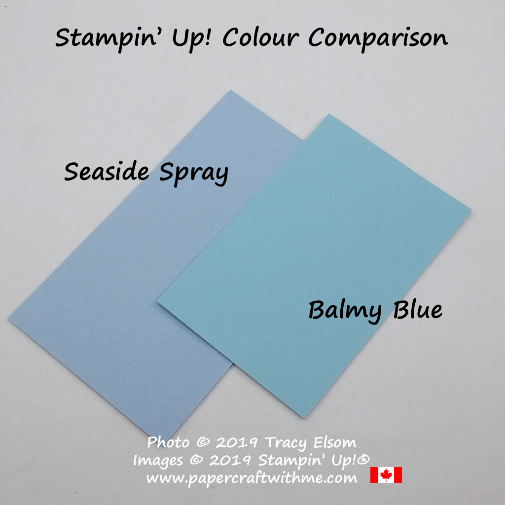 Visual comparison of Seaside Spray and Balmy Blue cardstock from Stampin' Up!
