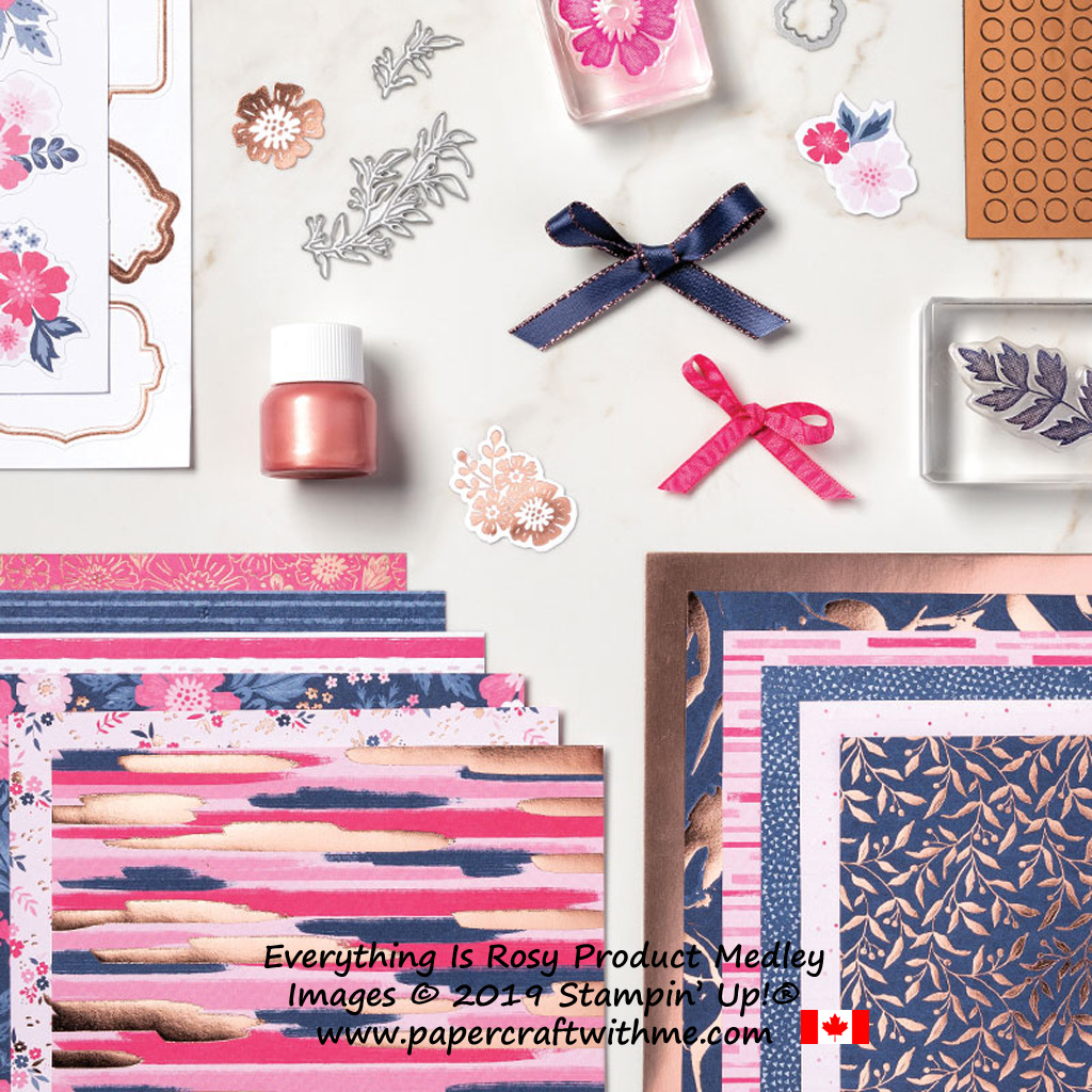 Everything is Rosy is not a kit, it's an exclusive medley of coordinating products including stamp set, dies, foil paper, patterned paper, embellishments and ribbons. Only available from Stampin' Up! from May 1-31, 2019 - while stocks last.