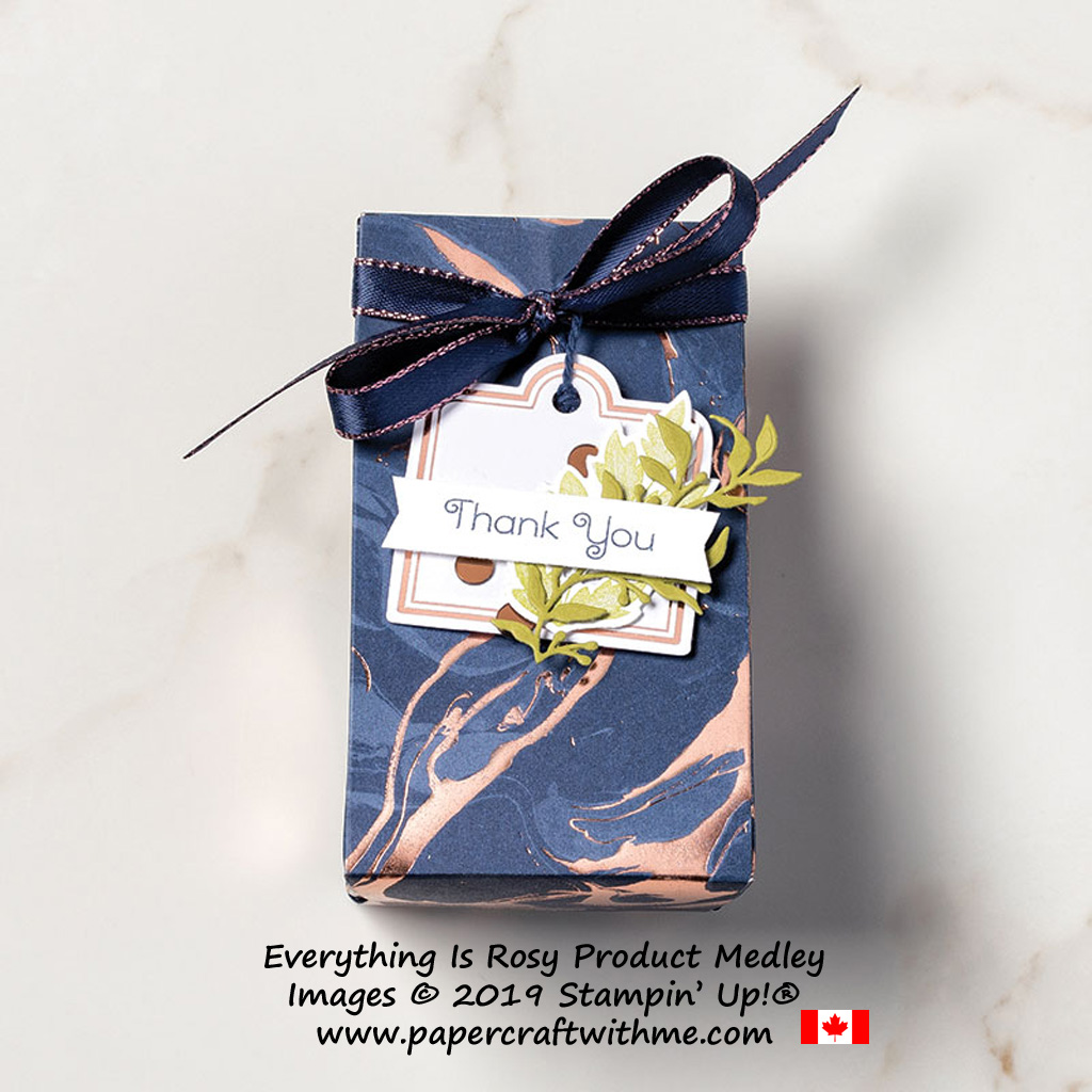 Thank you treat box created using the exclusive Everything is Rosy product medley from Stampin' Up!, available May 1-31, 2019 - while stocks last.