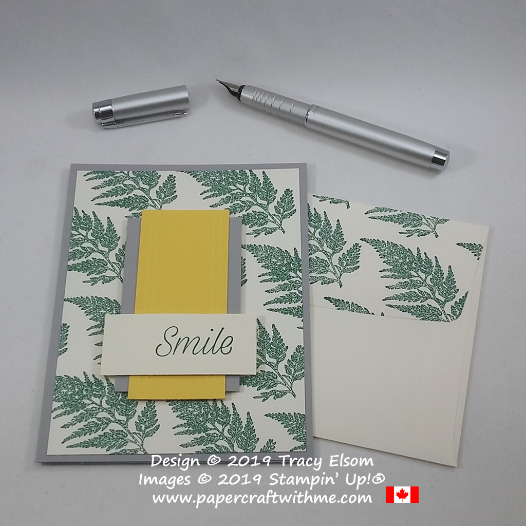 "Close up of simple card with ""smile"" sentiment and fern image from the Daisy Lane Stamp Set from Stampin' Up!"
