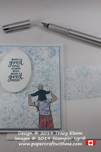 "Father's Day card with ""a good dad"" sentiment and paper pieced image created using A Good Man Stamp Set and Woven Threads DSP from Stampin' Up!"