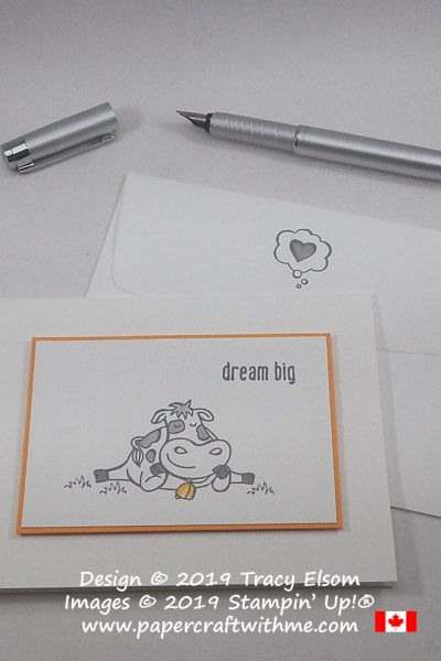 """Simple card with cow image and """"dream big"""" sentiment from the Over The Moon Stamp Set by Stampin' Up!"""