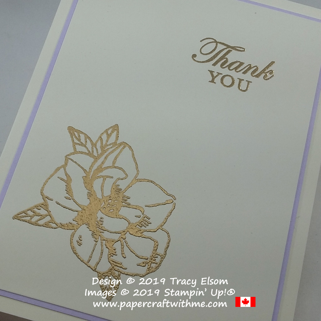 Close up of gold embossed thank you card created using the Magnolia Blooms Stamp Set from Stampin' Up!