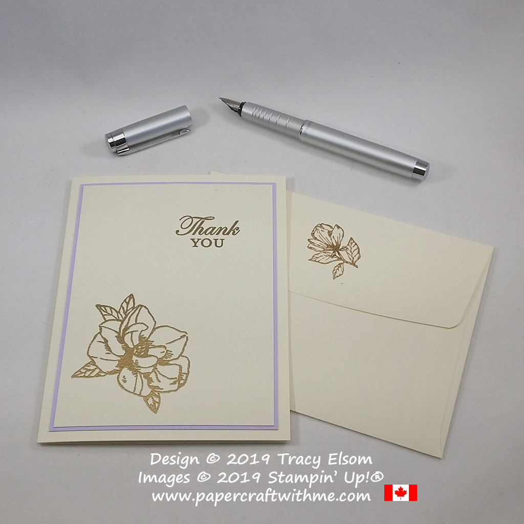 Gold embossed thank you card created using the Magnolia Blooms Stamp Set from Stampin' Up!