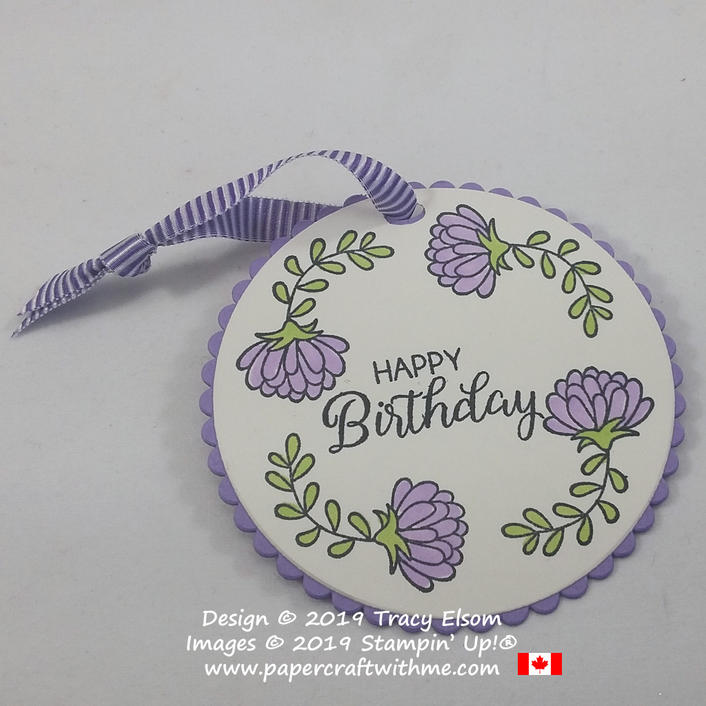 Close up of birthday gift tag with chrysanthemum image from the Love You To Pieces Stamp Set from Stampin' Up!