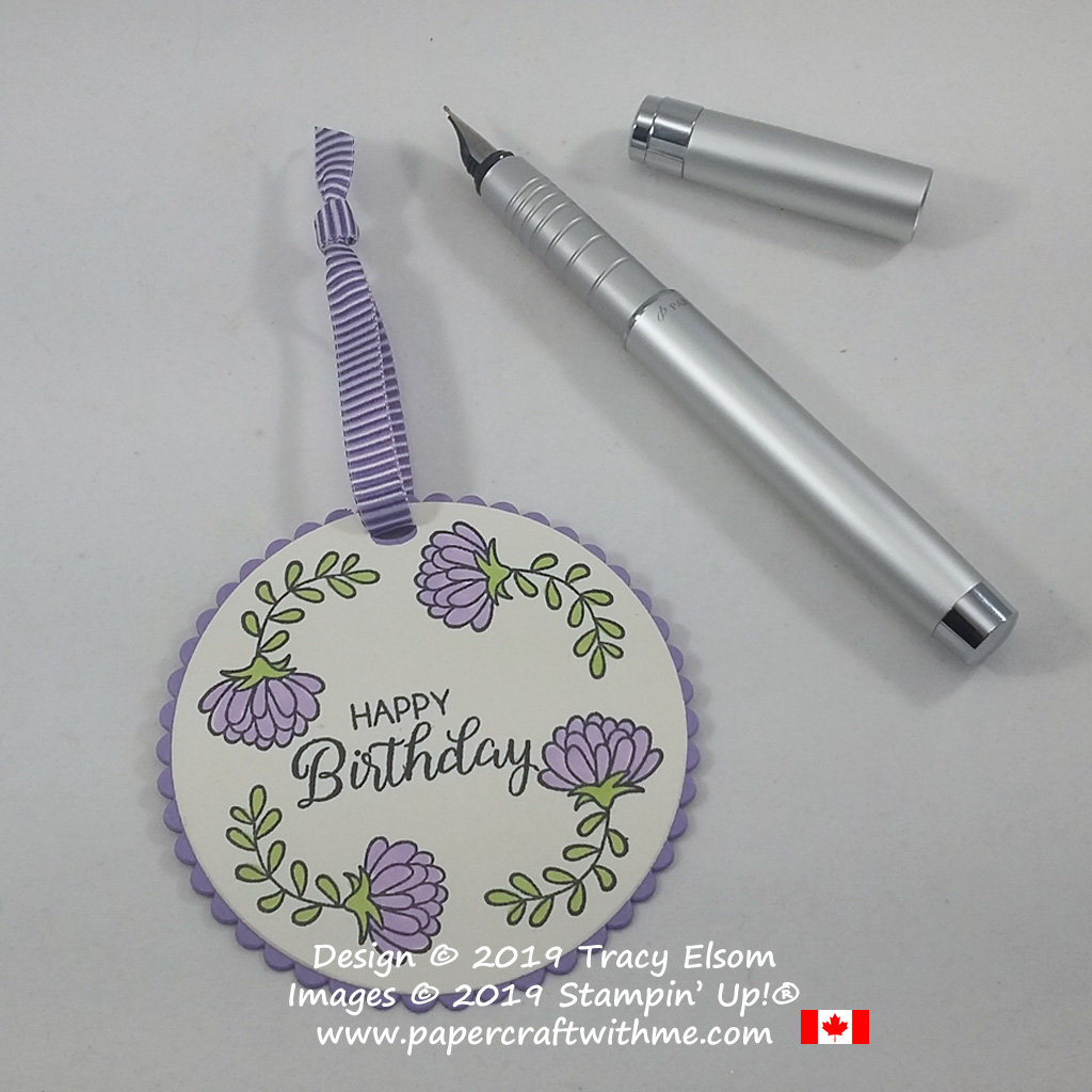 Birthday gift tag with chrysanthemum image from the Love You To Pieces Stamp Set from Stampin' Up!