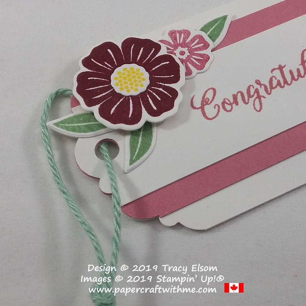 Close up of small flower spray on a congratulations tag created using the Beautiful Bouquet Stamp Set and coordinating Bouquet Bunch Dies from Stampin' Up!