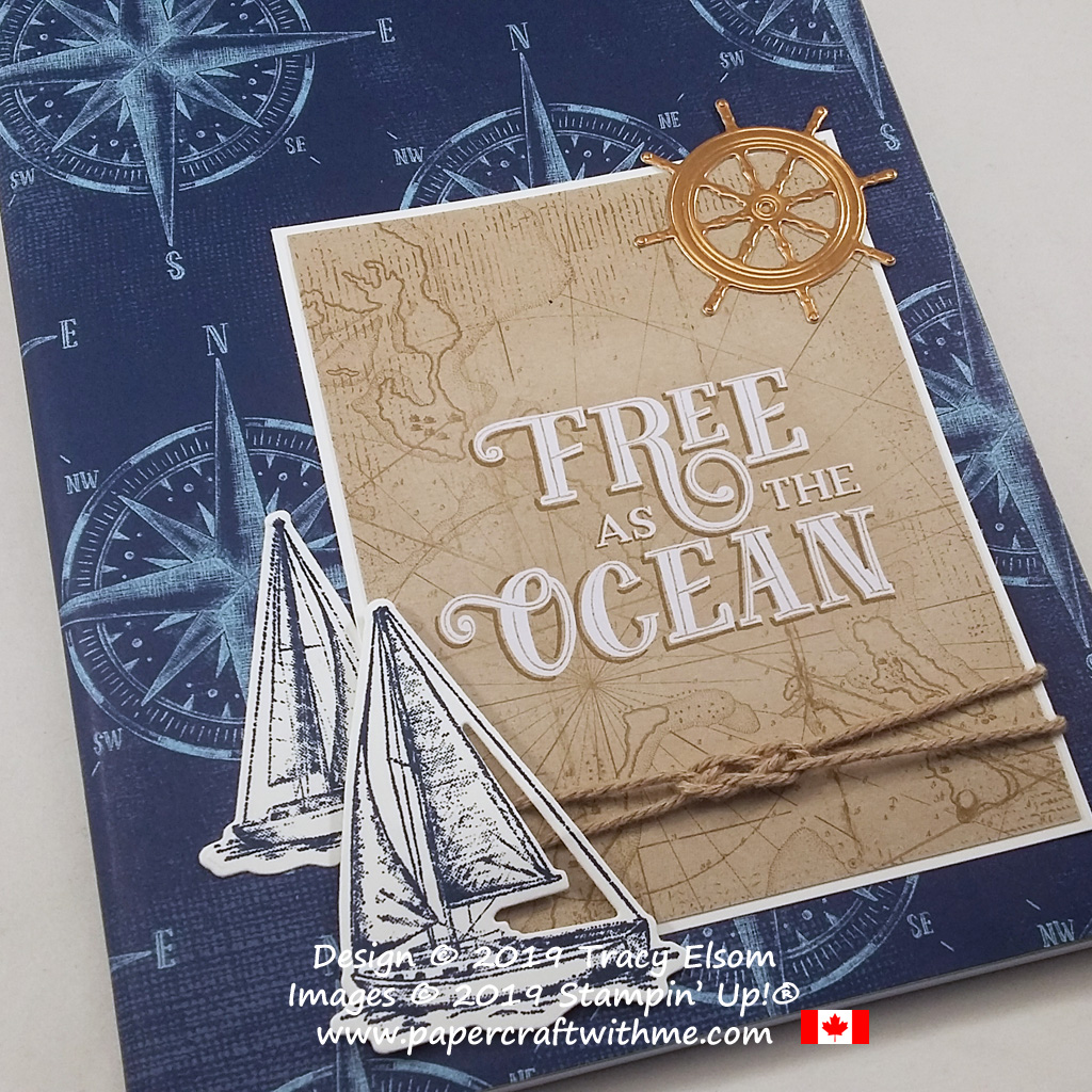 Close up of sailing themed notebook, decorated using products from the Come Sail Away suite from Stampin' Up!