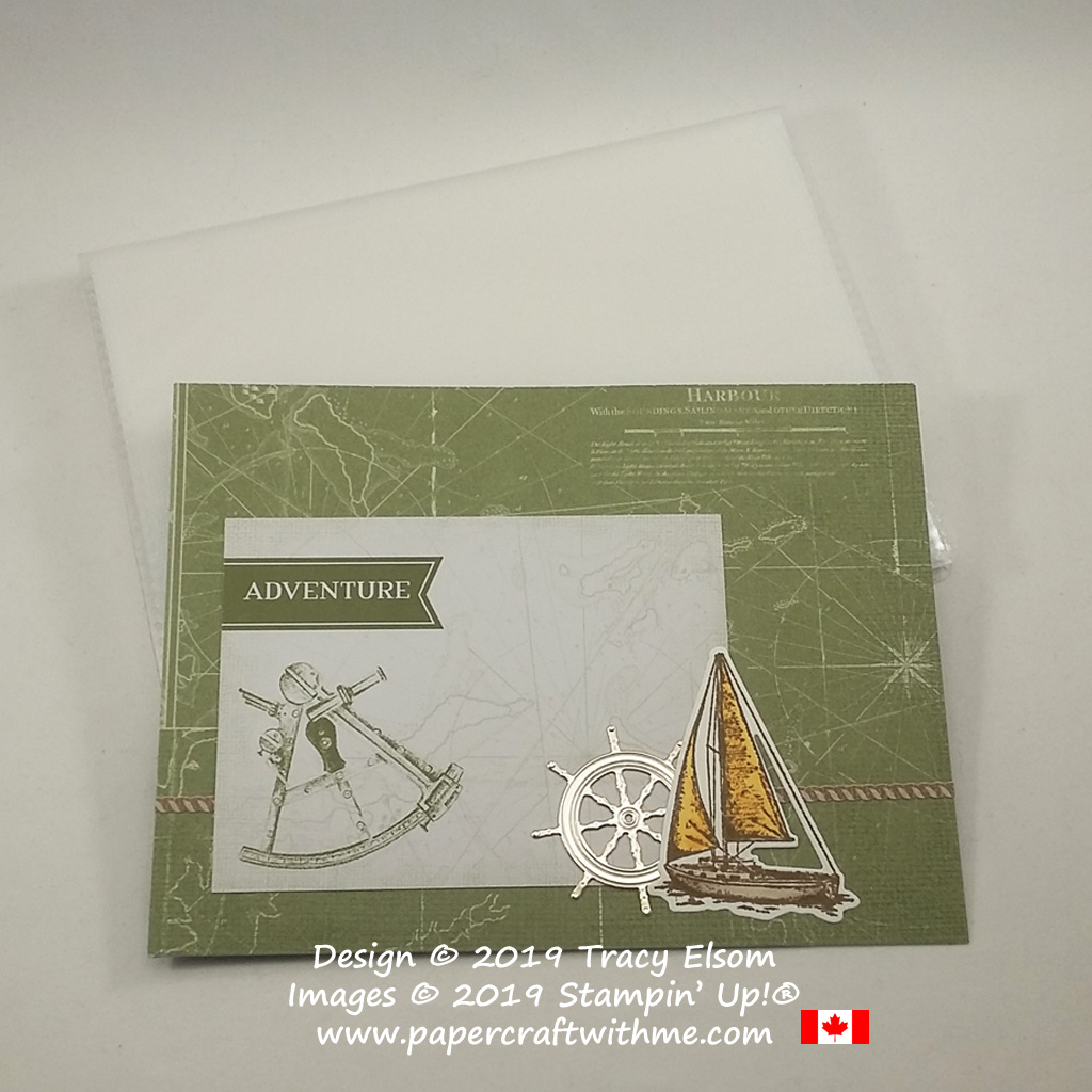 """Cover of 4"""" x 6"""" pocket photo album decorated with """"Adventure"""" title and nautical images from the Come Sail Away suite from Stampin' Up!"""