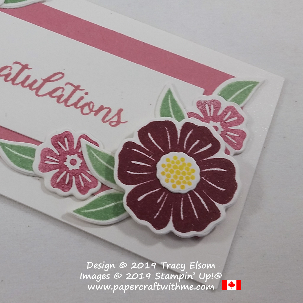 Close up of large flower spray on a congratulations tag created using the Beautiful Bouquet Stamp Set and coordinating Bouquet Bunch Dies from Stampin' Up!