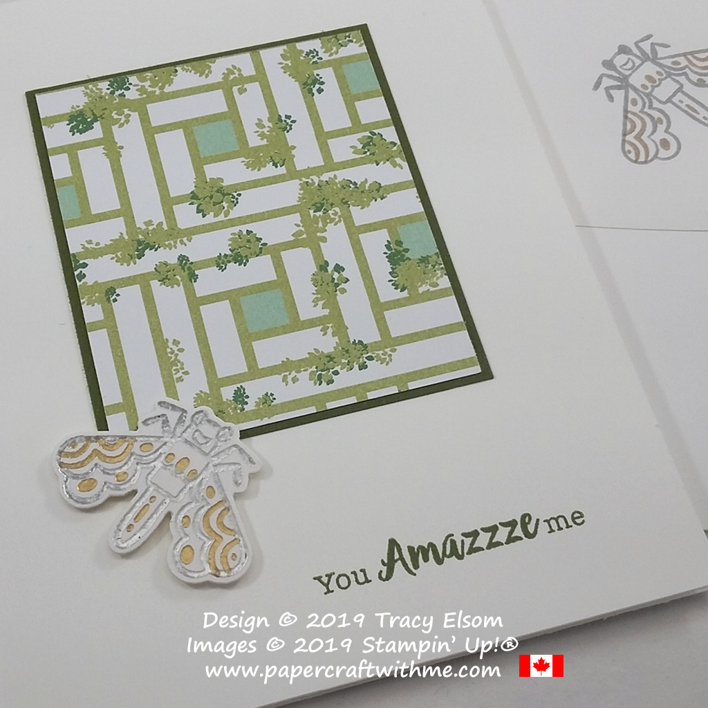 "Close up of ""You amazzze me"" card with gold and silver embossed fly image from the Wiggle Worm Stamp Set from Stampin' Up!"