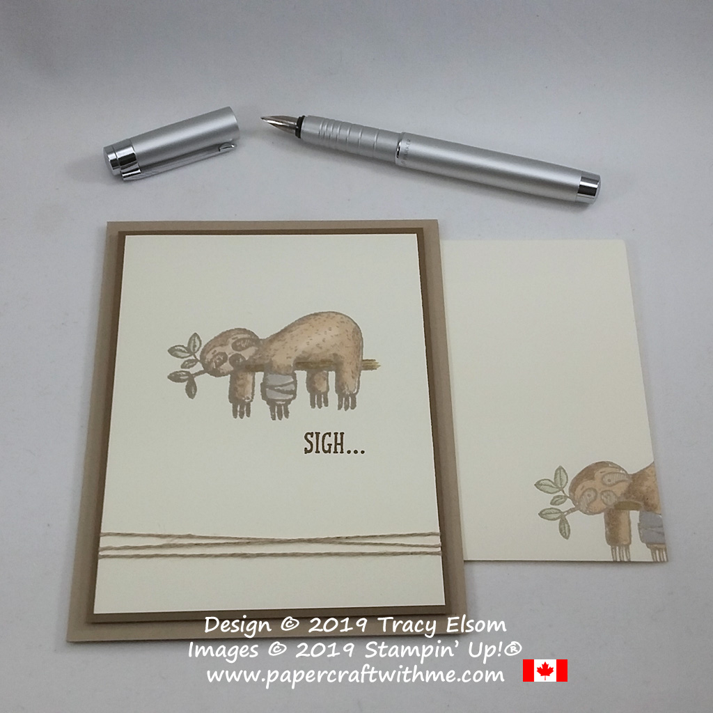 "Card with sloth image and ""Sigh..."" sentiment from the Back On Your Feet Stamp Set coloured sing Stampin' Blends, all from Stampin' Up!"