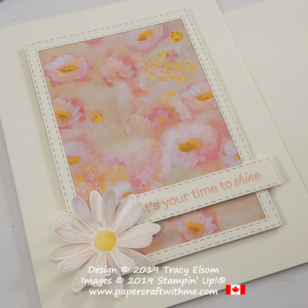 """Close up of card with framed field of flowers (Perennial Essence DSP) and """"It's your time to shine"""" sentiment from the Daisy Lane Stamp Set, both from Stampin' Up!"""