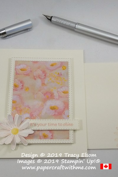 "Card with framed field of flowers (Perennial Essence DSP) and ""It's your time to shine"" sentiment from the Daisy Lane Stamp Set, both from Stampin' Up!"