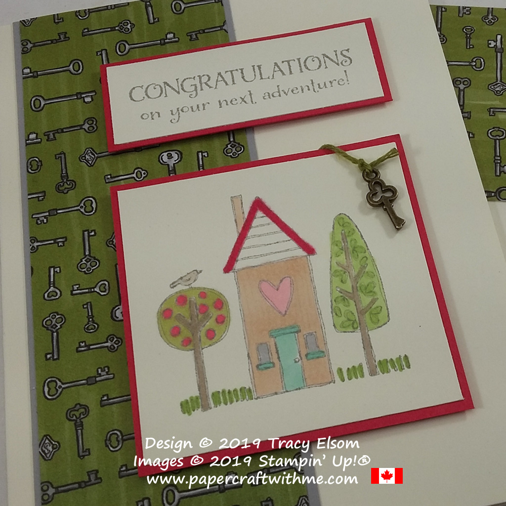 Close up of new home card with bronze key embellishment, created using the On To Adventure and Grandma's House Stamp Sets from Stampin' Up!