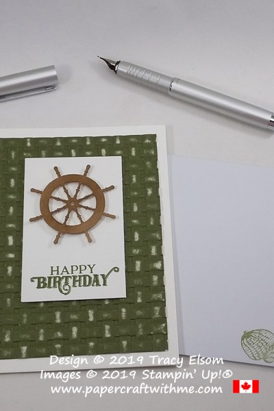 Masculine sailing themed birthday card created using pieces from the July 2019 paper Pumpkin kit, On My Mind, plus the Basket Weave 3D Embossing Folder from Stampin' Up!
